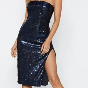 Women's,  Navy Sequin Midi Split Dress